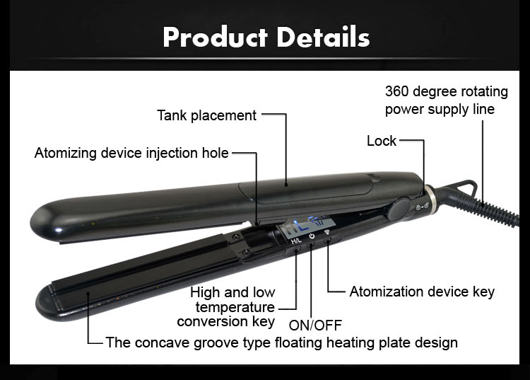Dongguan bidisco 65w 2016 professional 2 in 1 treatment infusion electric hair straightener flat iron