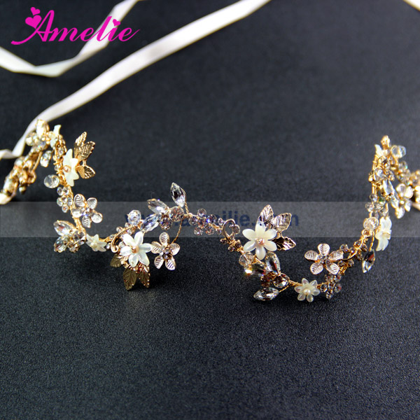 Customized Headpieces Ordered Gold Plated Sparkling Crystal Flower Wedding Wavy Headband