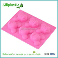 6 six compartment food grade pink mickey mouse silicone cake mold