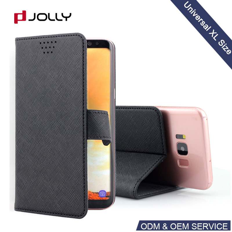 Popular Pu Leather Universal Mobile Model Wallet Holster Cell Phone Flip Cover Case For 5 5.5 6 Inch Smartphone