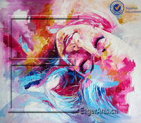 2016 Latest Design High Quality Abstract Canvas Beautiful Girl Painting Art