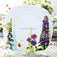 10.5 Inches Hyper White Porcelain Square Platter with Smooth Edges