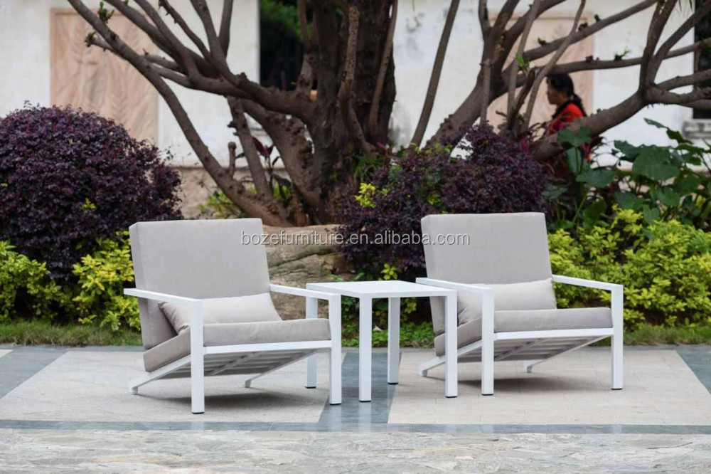 Aluminum table and chair, stackable home garden set, white outdoor furniture
