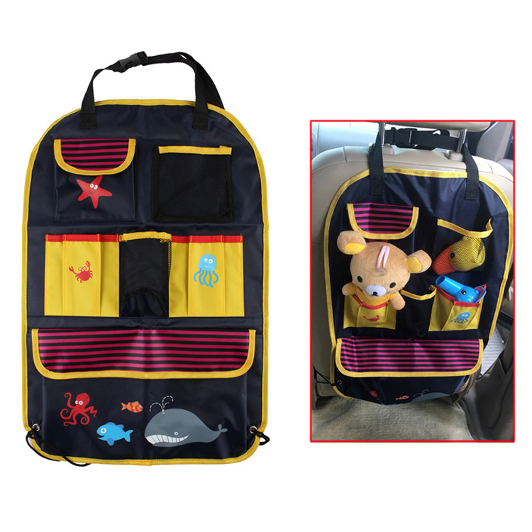 Multifunction Pockets 420D Polyester Cartoon Folded Hanging Car Backseat Organizer Folding Car Trunk Organizer
