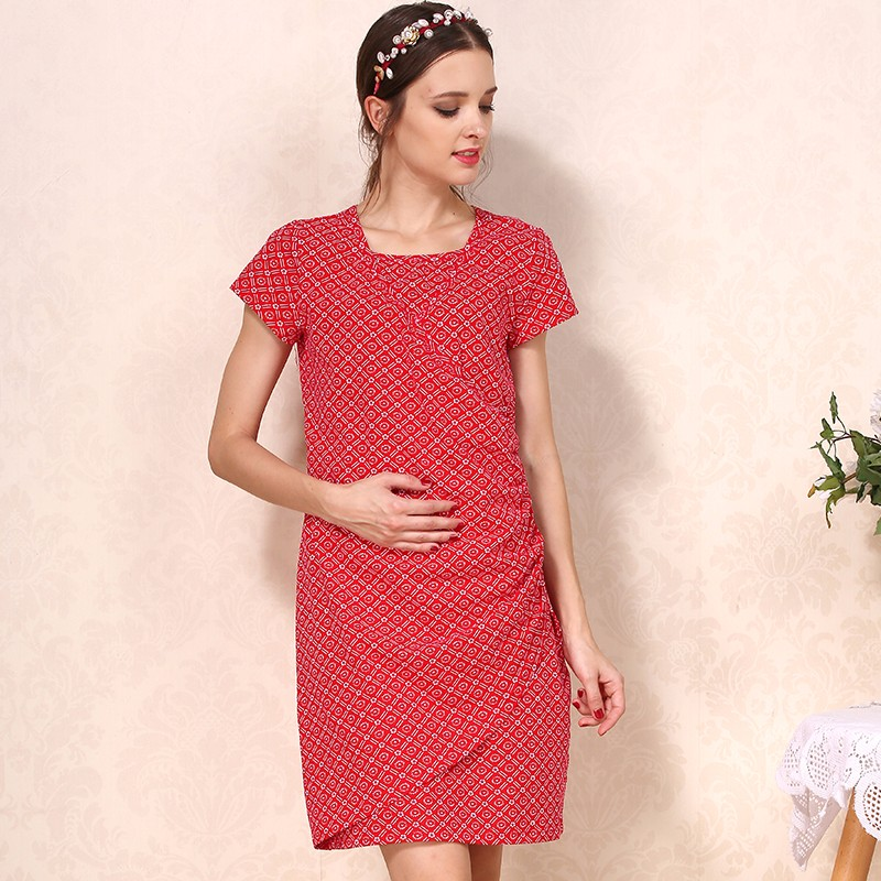 Fashion maternity dress breastfeeding dress comfortable cotton nursing clothes for pregnant women casual wearing