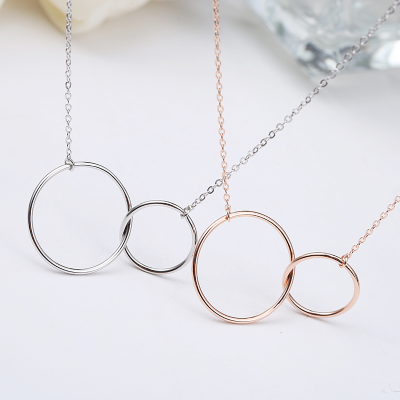 Light weight gold plated interlocking double circles necklace <strong>silver</strong> 925