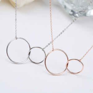 promotion !gold plated interlocking double circles necklace silver 925