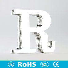 Beautiful side perforated lighted mirror brush finish metal alphabet letter led channel letter led lighting signs for decoration