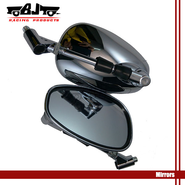 RM031 Universal Chrome Plate Big Size Motorcycle Side Mirrors For Suzuki Yamaha 8mm 10mm Screwuki