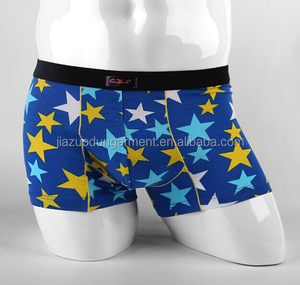 2017 New Arrival Fashion Design Your Own OEM Personalized Label 95%Modal 5%Elastane Print Star No Brand Band Sport Men Underwear