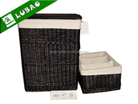 cheap large black square lidded lined wicker willow laundry hamper basket