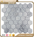 Cheap blue mosaic Wooden Blue marble hexagon mosaic tiles