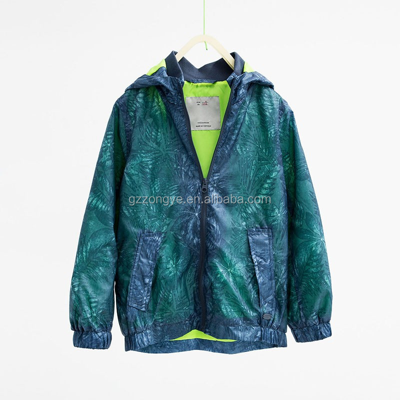 Leaf print children 100%polyester children winter jacket
