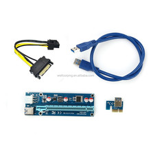 High Quality Pci-e Express 1x To 1x/4x/8x/16x Riser Extender Adapter Card With Usb 3.0 Cable Molex Power For Bitcoin
