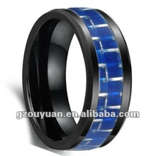 Beautiful style ceramic ring with carbon fiber inlay