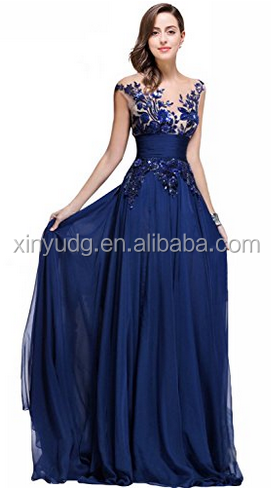 New Western Design Blue Long Prom Lace Evening Dress with Sequins