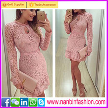 Elegant desigh bodycon long sleeve O neck flower girl dress