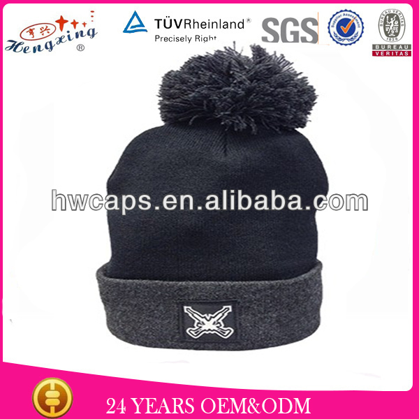 Custom Embroidery Pom Pom Beanie Hat/Fashion Mens Size 100% Acrylic Knitted Mink Hat