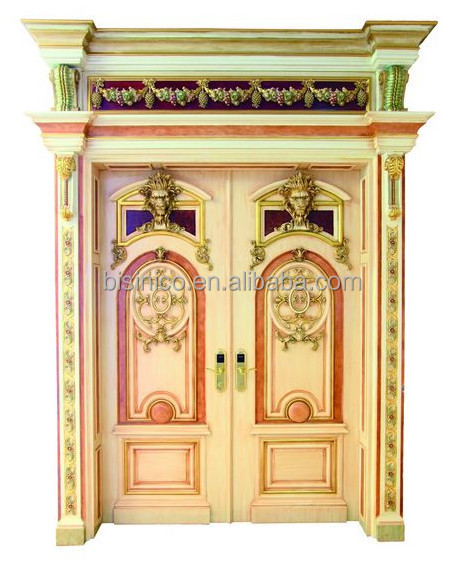 French rococo style royal golden wood carved double for French style double doors