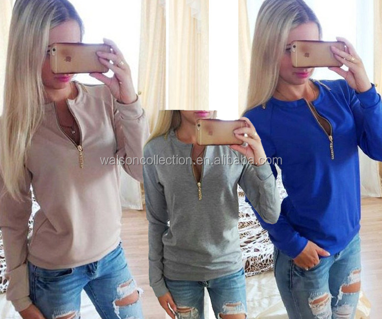 New Women Fashion Apparel Clothing Tee Shirt Zip Up Blouse Tops For Women Dress ropa mujer