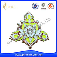 handmade wholesale cheap custom musical satin flower lapel pin,metal badge