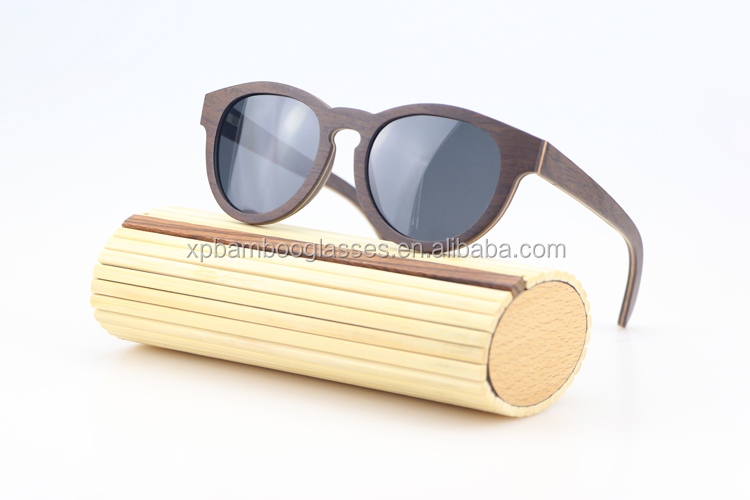 Custom Dark Solid Wood Sunglasses With Polarized Lens