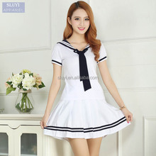 school uniforms wholesale Sailor Short Sleeve T-shirt +Skirt Piece Fitted Sexy Girls Plus Size Japanese school uniform