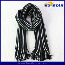 HZW-12020 2017 new design men fashion jacquard tassels knit striped scarf pattern