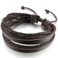 Handmade Genuine Leather Bracelets Bangle ,Brown Leather Cord Rope, Wrap Braider Adjustable Fit 7-9 Inch ,Bracelets For Biker