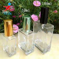 30ML-100ML SQUARE CLEAR GLASS PERFUME BOTTLES WITH LIDS