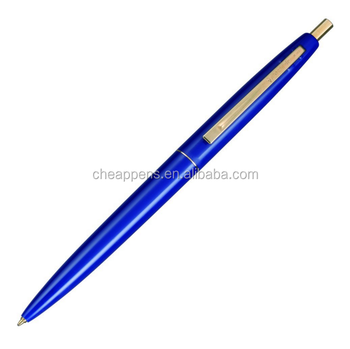click gold knock type royal blue ballpoint pen