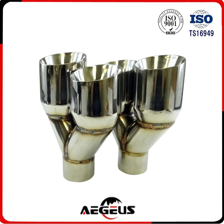 High quality auto 2X-Sliver-Exhaust-Duo-Layer-Slant-Cut-Tip-Polished-Stainless-Steel-2-5-034-In-4-034-Out