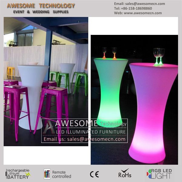 led flashing high boys plastic tall table for bars cocktail party (TP110B)