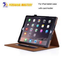 for ipad pro 12.9 inch leather case flip PU cover with card holder stand case for ipad air mini 7.9 9.7 10.5 inch