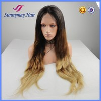 "26"" Ombre Color Philippines Hair Glueless Silk Top Full Lace Wigs 180% Density"