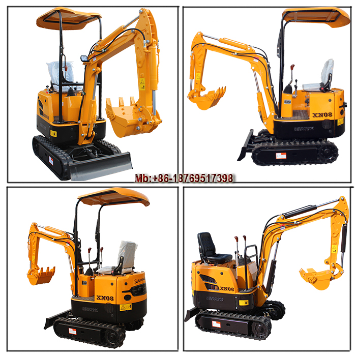 0.8 ton mini crawler excavator with rubber track bucket capacity 0.02m3