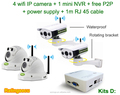 720P IR IP POE WIFI cctv camera with nvr camera kit(Kit D)