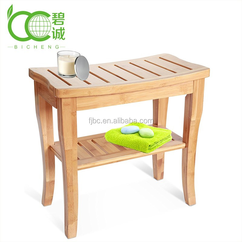 OEM Brand Available Eco-Friendly Bamboo Bathroom Shower Seat Bench with Storage Shelf