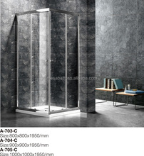 Shiny Chrome bathroom shower sliding glass door with lower show tray