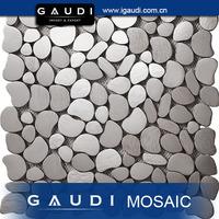 white pebble steel mosaic kitchen tiles designs pattern