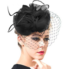 Coolfel Hair Accessories Women Jewelry European Style Veil Feather Fascinator Black Cocktail Party Wedding Hat Bride Headwear