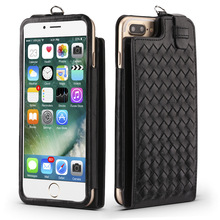 Woven Pattern Card Slot Multifunction Real Leather Back Pouch Cell Phone Case For iPhone 7