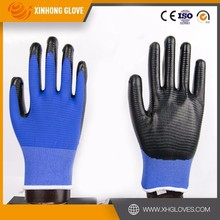 13 gauge knitted nylon/ polyester liner coated nitrile on palm gloves, safety gloves for working