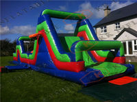 Factory price inflatable fantasy run, inflatable obstacle course with basketball hoop for sale