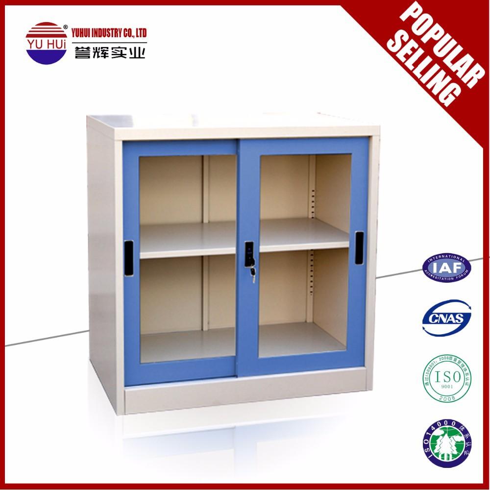 Glass Sliding Door Small Cube Steel Bookcase Storaging