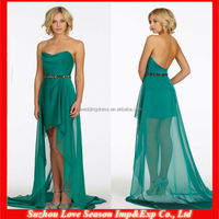 HB0045 Simple design strapless with crystal belt long back short front latest casual green chiffon bridesmaid dress cheap