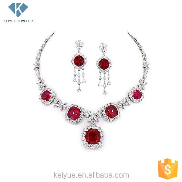 Artificial red stone 925 silver fancy heavy necklace earring sets