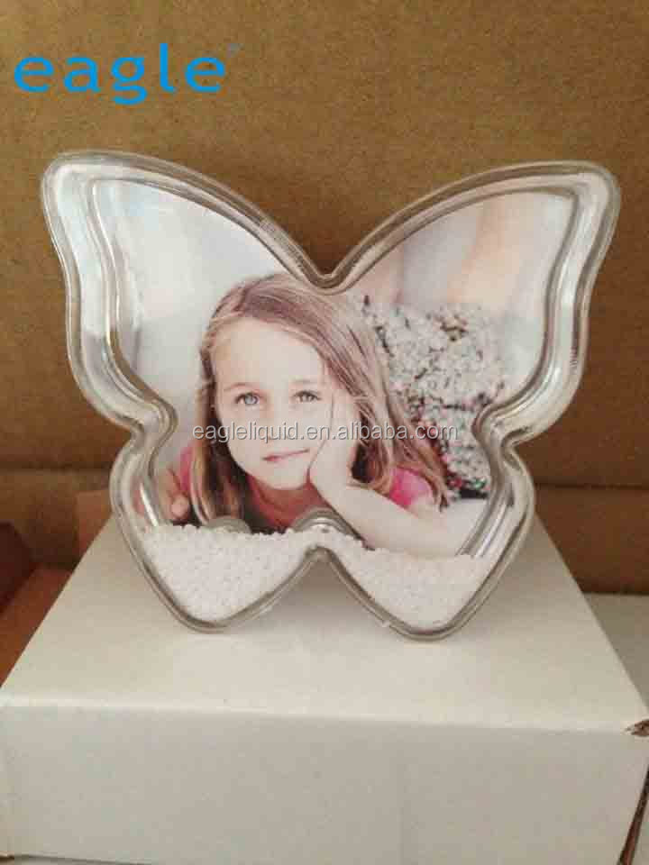 Acrylic butterfly shape aqua photo frame snow ball with picture