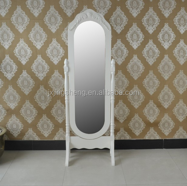 full-length Rolling wooden frame standing floor mirror cheval dressing vanity mirror