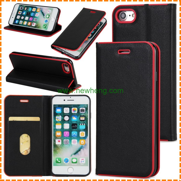 wholesale card slot pu leather filp cell phone case for iPhone 8